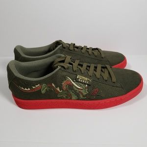 Puma Suede Court Classic Dragon Patch Green Red